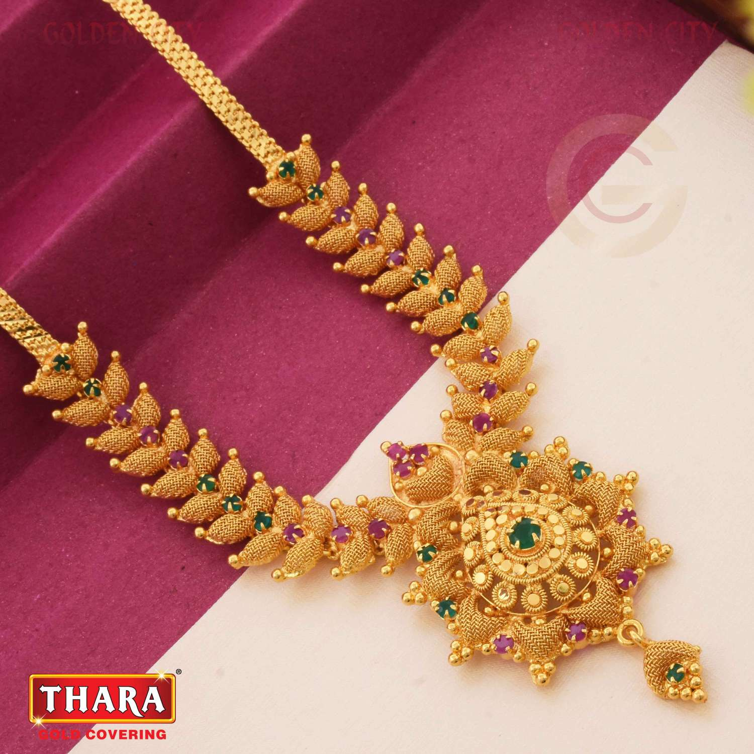 AD NT NECK 718  COLOUR RUBY&GREEN