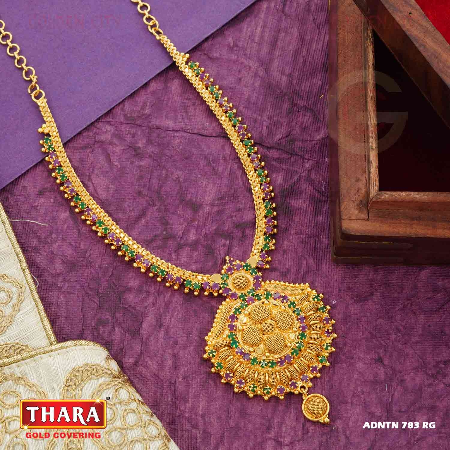 AD NT NECK 783  COLOUR RUBY&GREEN